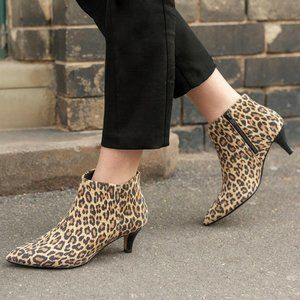 """Clarks Leather """"Linvale"""" ankle Bootie Cheetah"""
